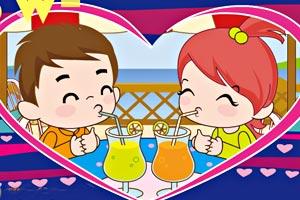小情侣PK喝果汁